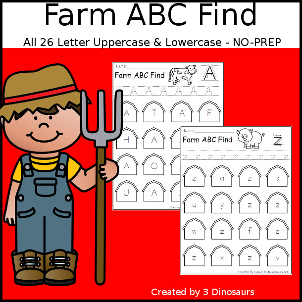 Easy No-Prep Farm ABC Find - easy no-prep printables with a fun barns theme 52 pages with uppercase and lowercase $ - 3Dinosaurs.com