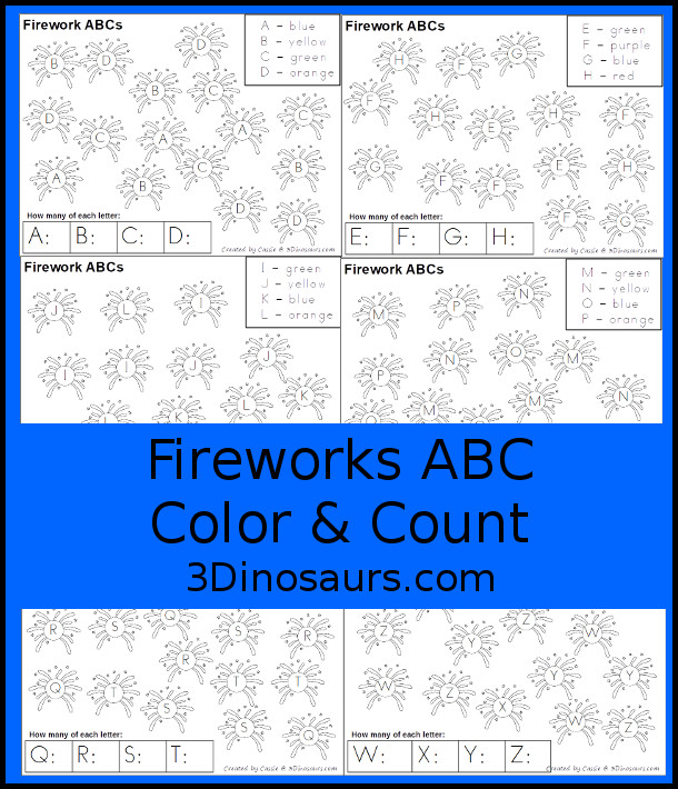 Free Fireworks ABC Color & Count - works on uppercase letters with four letters per page and kids have fun dotting the letters and counting - 3Dinosaurs.com #3dinosaurs #freeprintable #addtion #prek #kindergarten