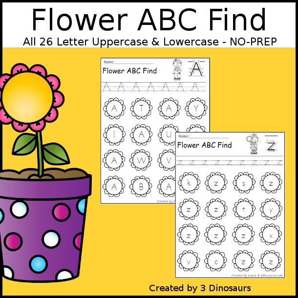 Flower ABC Find - easy to use no-prep printable $ - 3Dinosaurs.com