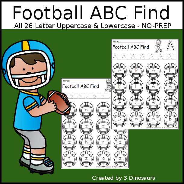 Easy No-Prep Football Find - easy no-prep printables with a fun football helmet theme 52 pages with uppercase and lowercase $ - 3Dinosaurs.com
