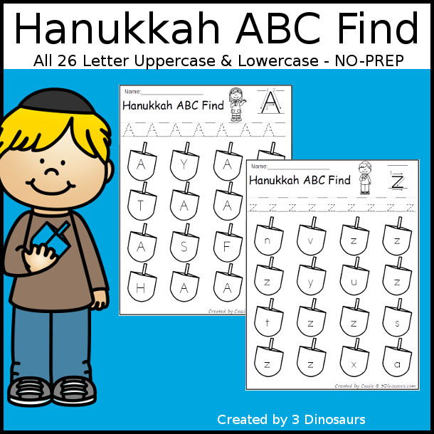 Easy No-Prep Hanukkah ABC Letter Find - easy no-prep printables with a fun dreidel theme 52 pages with uppercase and lowercase $ - 3Dinosaurs.com