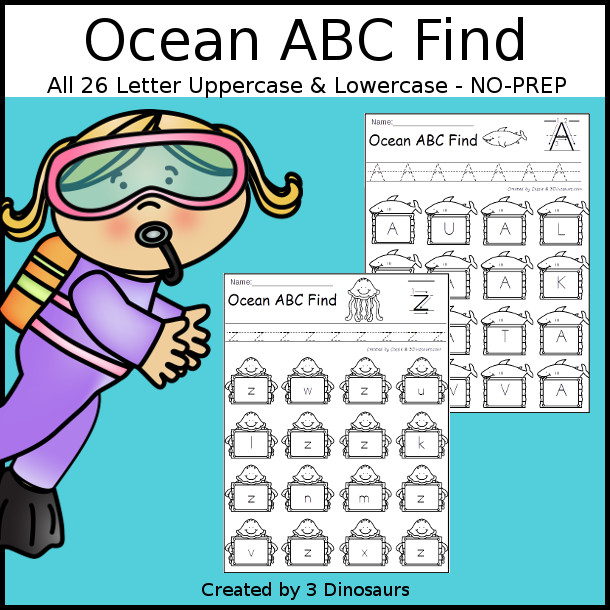 Easy No-Prep Ocean ABC Find - easy no-prep printables with a fun summer theme 52 pages with uppercase and lowercase $ - 3Dinosaurs.com
