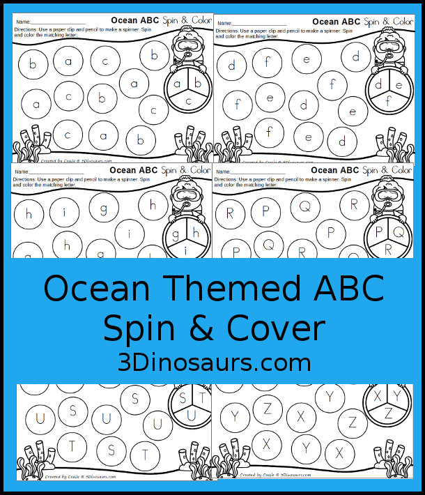 Free Ocean ABC Spin and Color - two sets with uppercase or lowercase only option. Plus see some ways to use these fun letter mats - 3Dinosaurs.com