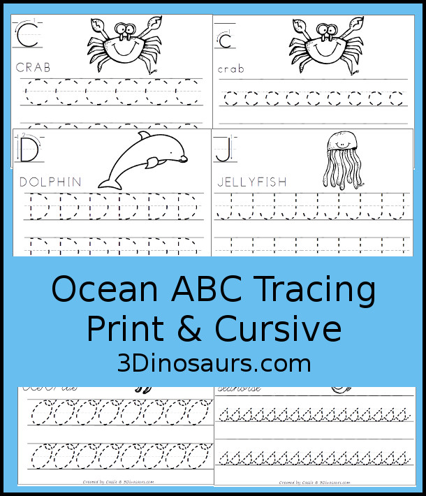 Free Ocean Animals ABC Tracing Print & Cursive - uppercase or lowercase only letters with 6 letters for kids to work on - 3Dinosaurs.com