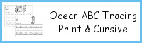 Ocean Animals ABC Tracing Print & Cursive