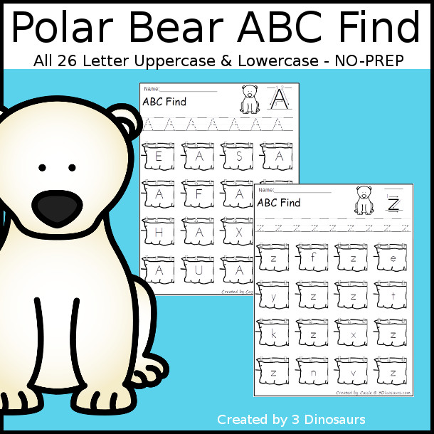 Easy No-Prep Polar Bear ABC Letter Find - easy no-prep printables with a fun arctic theme 52 pages with uppercase and lowercase $ - 3Dinosaurs.com