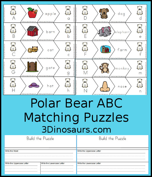 Free Polar Bear ABC Matching Puzzles - with four pieces puzzles to work on matching letters, beginning sound picture, and word with two building mats for the puzzles - 3Dinosaurs.com