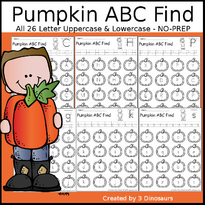 Pumpkin Themed ABC Find: Uppercase or Lowercase with tracing $ - 3Dinosaurs.com