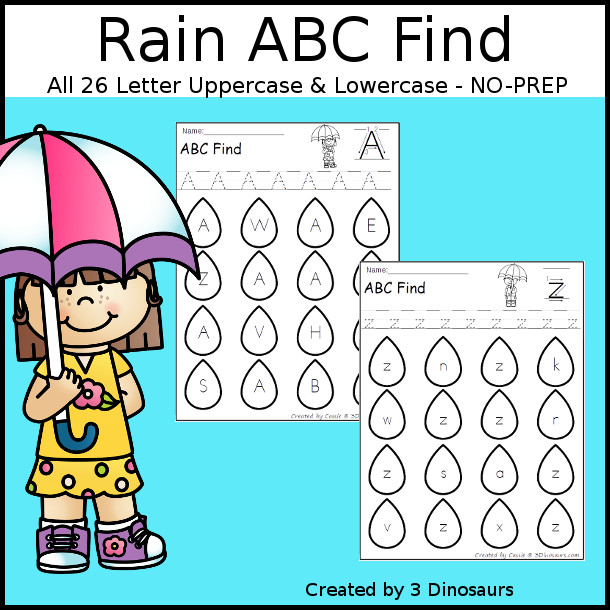 Easy No-Prep Rain ABC Letter Find - easy no-prep printables with a fun raindrop theme 52 pages with uppercase and lowercase $ - 3Dinosaurs.com