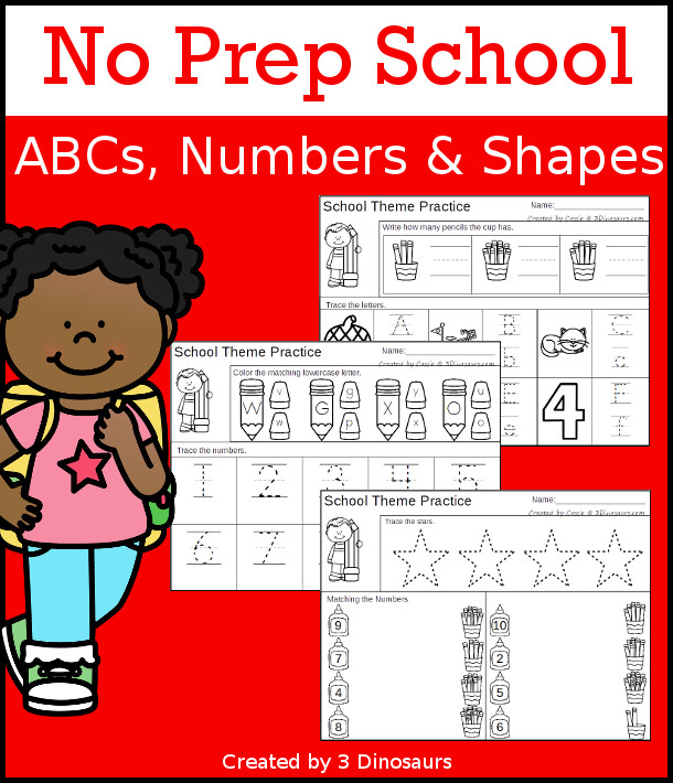 No-Prep School ABCs, Numbers & Shapes - with 30 pages of no-prep activities for ABCs, numbers, and shapes with a school theme $ - 3Dinosaurs.com