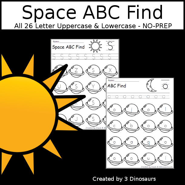 Space ABC Find - easy to use no-prep printable $ - 3Dinosaurs.com