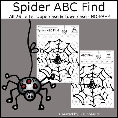 3 Dinosaurs - Spider Web Dot ABC: Print & Cursive