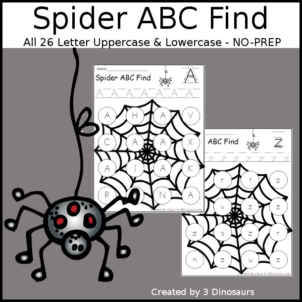 Easy No-Prep Spider ABC Letter Find - easy no-prep printables with a fun spider web theme 52 pages with uppercase and lowercase $ - 3Dinosaurs.com