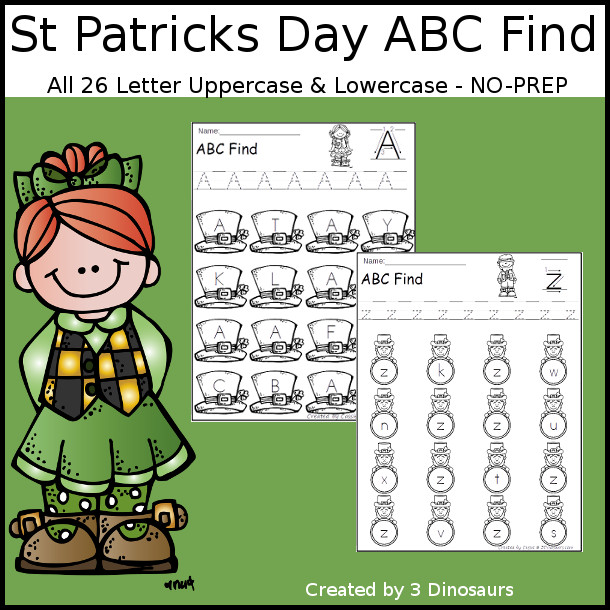 Easy No-Prep St Patricks Day ABC Find - easy no-prep printables with a fun leprechaun or hats theme 52 pages with uppercase and lowercase $ - 3Dinosaurs.com