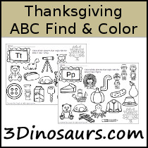 Thanksgiving ABC Find & Color