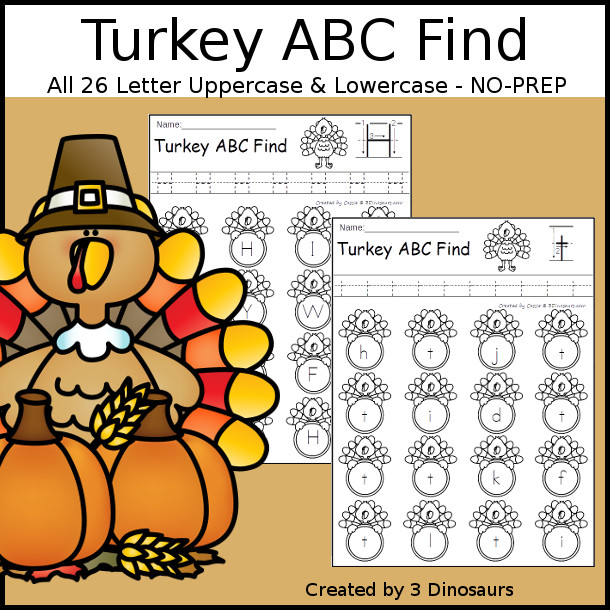 Turkey Themed ABC Find: Uppercase or Lowercase with tracing $ - 3Dinosaurs.com