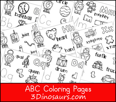 3 Dinosaurs - ABC Coloring Pages