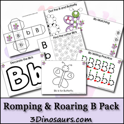 Free Romping & Roaring B Pack - 47 pages of activities with writing, tracing, coloring, puzzles, dot marker letters and more - 3Dinosaurs.com