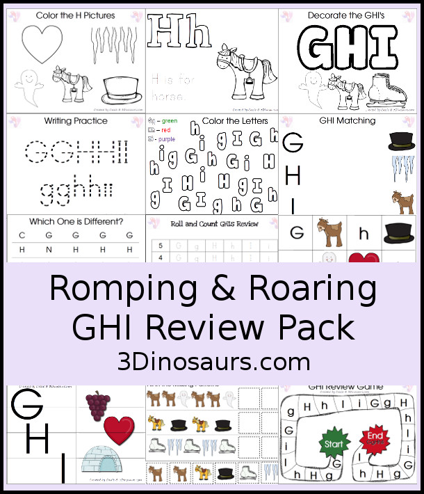 Free Romping and Roaring GHI Review Pack - with letter g, letter h, and letter i printables for reviewing the three letters with tracing, puzzles, coloring pages, finger puppets, game and more - 3Dionsaurs.com