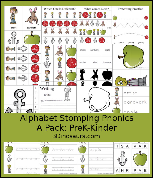 Alphabet Stomping Phonics Packs   Dinosaurs