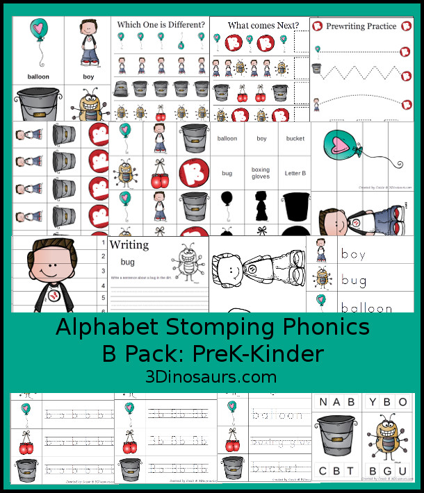 Free Alphabet Stomping Phonics B Prek-Kinder Pack - 30 pages of printables - 3Dinosaurs.com
