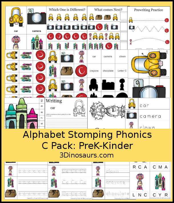 Free Alphabet Stomping Phonics C Prek-Kinder Pack - 30 pages of printables - 3Dinosaurs.com