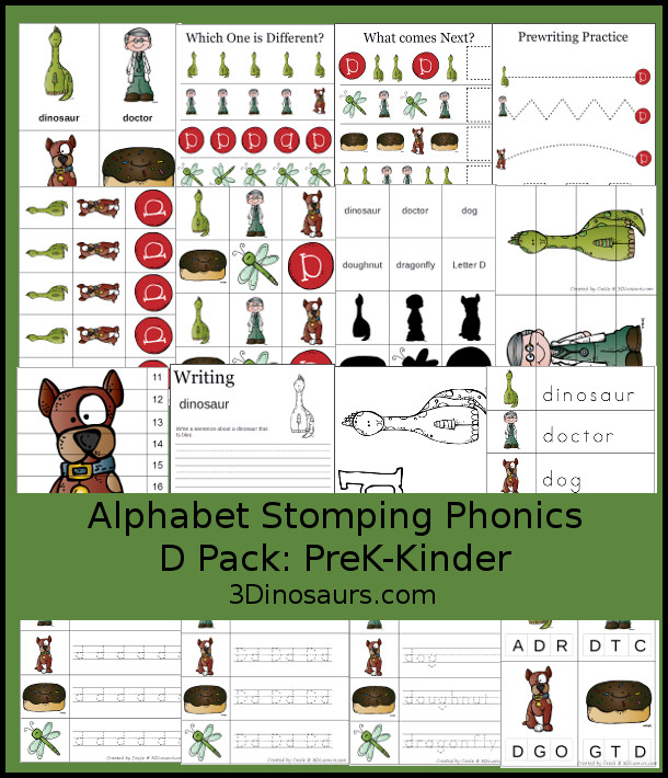 Free Alphabet Stomping Phonics D Prek-Kinder Pack - 30 pages of printables - 3Dinosaurs.com