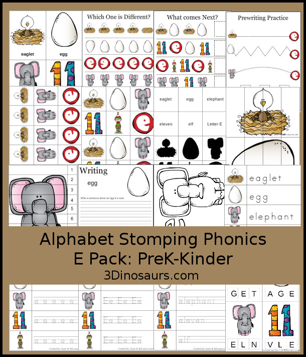Free Alphabet Stomping Phonics E Prek-Kinder Pack - 30 pages of printables - 3Dinosaurs.com