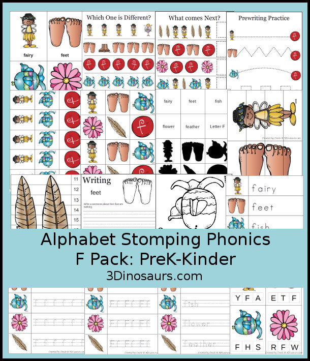 Free Alphabet Stomping Phonics F Prek-Kinder Pack - 30 pages of printables - 3Dinosaurs.com