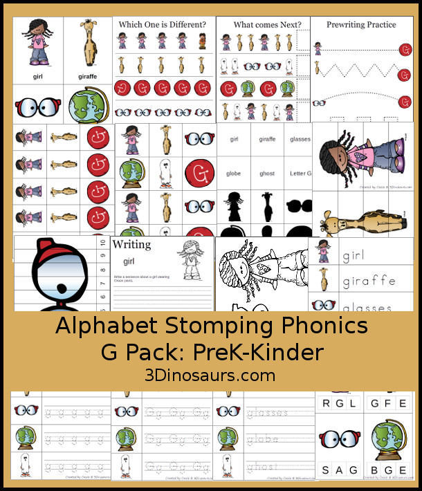 Free Alphabet Stomping Phonics G Prek-Kinder Pack - 30 pages of printables - 3Dinosaurs.com