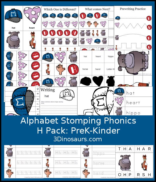 Free Alphabet Stomping Phonics H Prek-Kinder Pack - 30 pages of printables - 3Dinosaurs.com