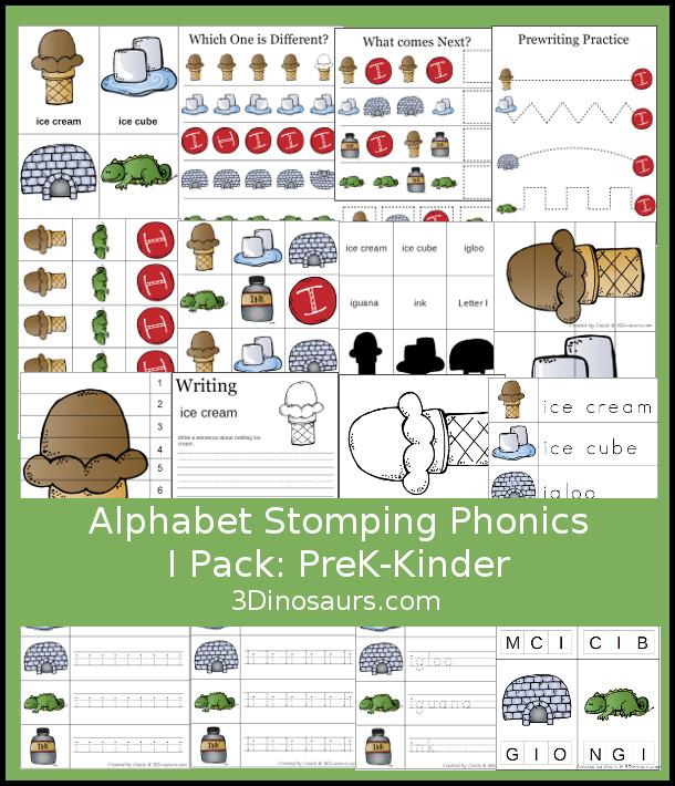 Free Alphabet Stomping Phonics I Prek-Kinder Pack - 30 pages of printables - 3Dinosaurs.com