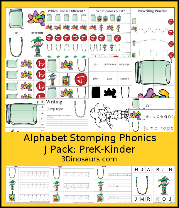 Free Alphabet Stomping Phonics J Prek-Kinder Pack - 30 pages of printables - 3Dinosaurs.com