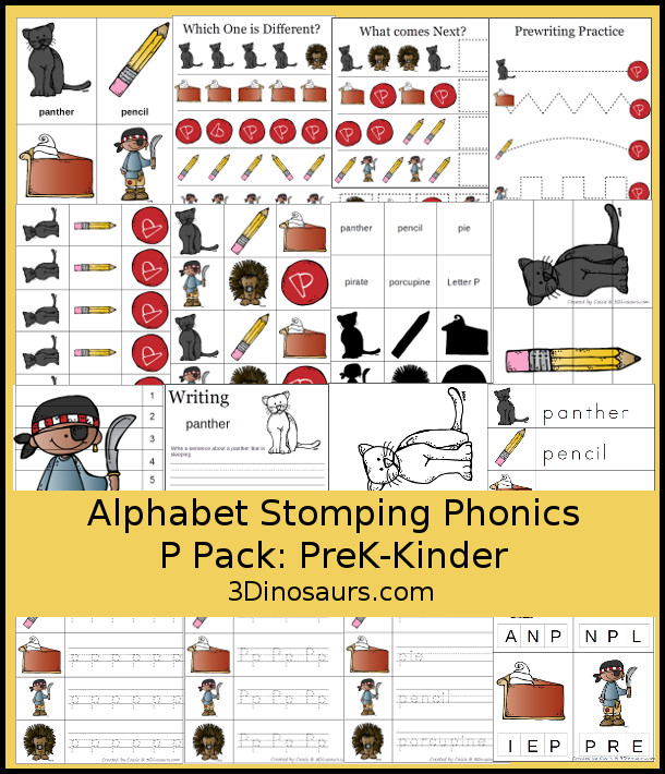 Free Alphabet Stomping Phonics P Prek-Kinder Pack - 30 pages of printables - 3Dinosaurs.com