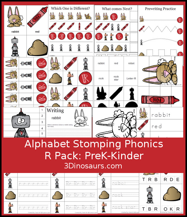Free Alphabet Stomping Phonics R Prek-Kinder Pack - 30 pages of printables - 3Dinosaurs.com