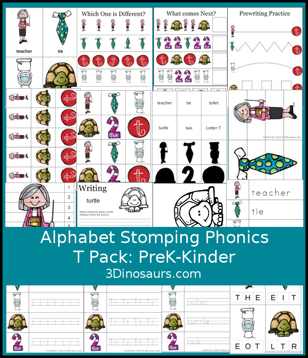 Free Alphabet Stomping Phonics S Prek-Kinder Pack - 30 pages of printables - 3Dinosaurs.com