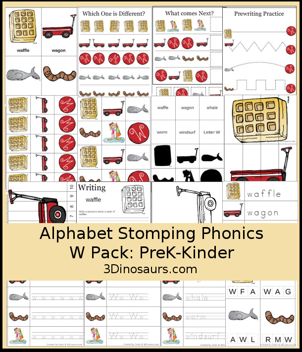 Free Alphabet Stomping Phonics W Prek-Kinder Pack - 30 pages of printables - 3Dinosaurs.com