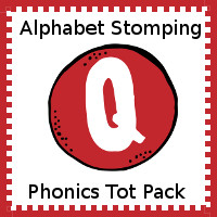 Free Alphabet Stomping Q Tot-Preschool Pack - 20 pages of activities - 3Dinosaurs.com