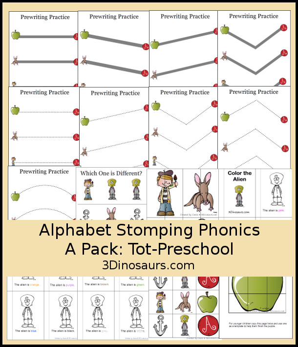 Free Alphabet Stomping Phonics A Tot-Preschool Pack - 20 pages of printables - 3Dinosaurs.com