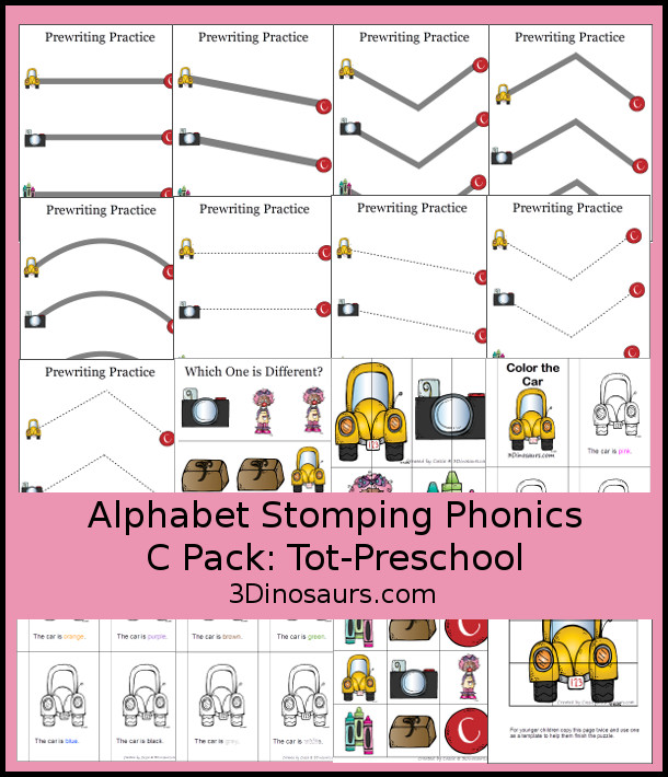 Free Alphabet Stomping Phonics C Tot-Preschool Pack - 20 pages of printables - 3Dinosaurs.com