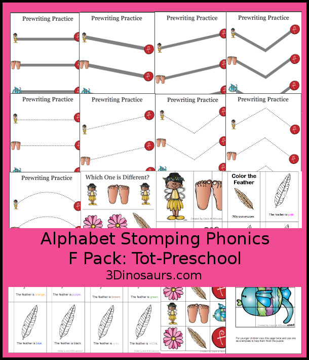 Free Alphabet Stomping Phonics F Tot-Preschool Pack - 20 pages of printables - 3Dinosaurs.com