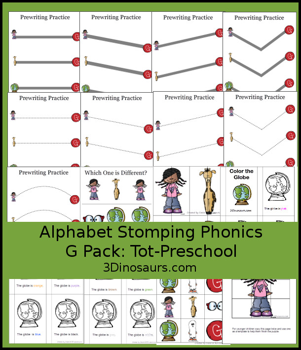 Free Alphabet Stomping Phonics G Tot-Preschool Pack - 20 pages of printables - 3Dinosaurs.com
