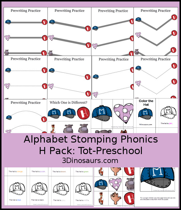 Free Alphabet Stomping Phonics H Tot-Preschool Pack - 20 pages of printables - 3Dinosaurs.com