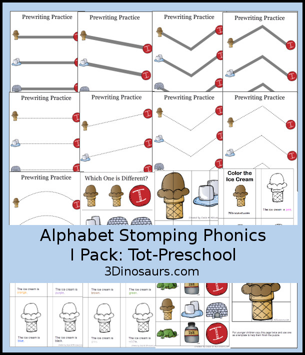 Free Alphabet Stomping Phonics I Tot-Preschool Pack - 20 pages of printables - 3Dinosaurs.com