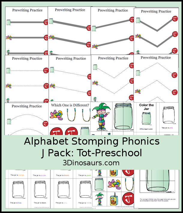 Free Alphabet Stomping Phonics J Tot-Preschool Pack - 20 pages of printables - 3Dinosaurs.com