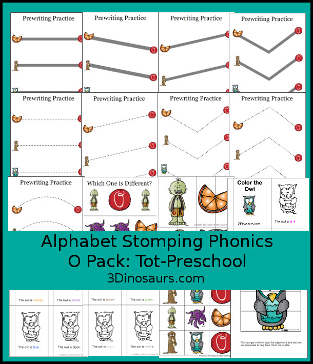 Free Alphabet Stomping Phonics O Tot-Preschool Pack - 20 pages of printables - 3Dinosaurs.com