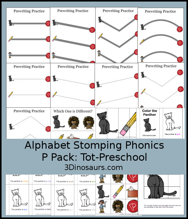 Free Alphabet Stomping Phonics P Tot-Preschool Pack - 20 pages of printables - 3Dinosaurs.com