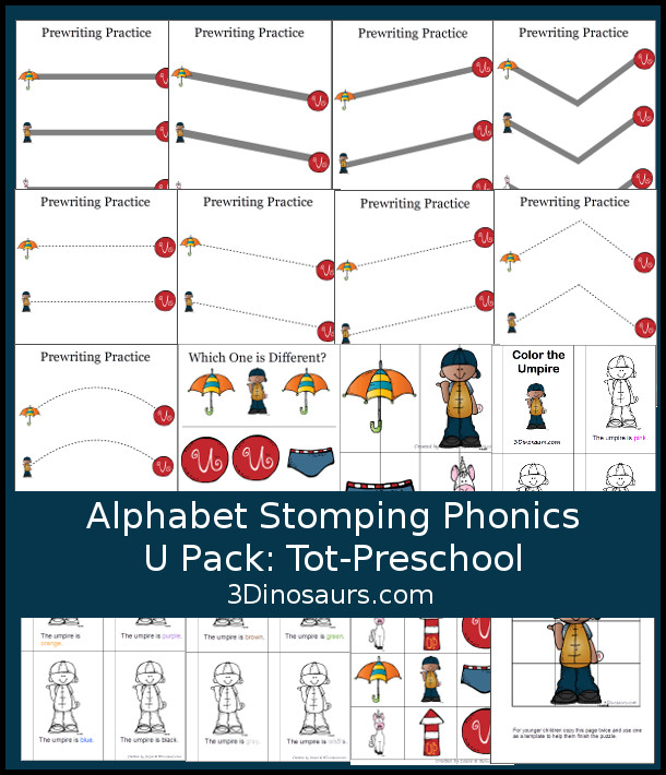 Free Alphabet Stomping Phonics U Tot-Preschool Pack - 20 pages of printables - 3Dinosaurs.com