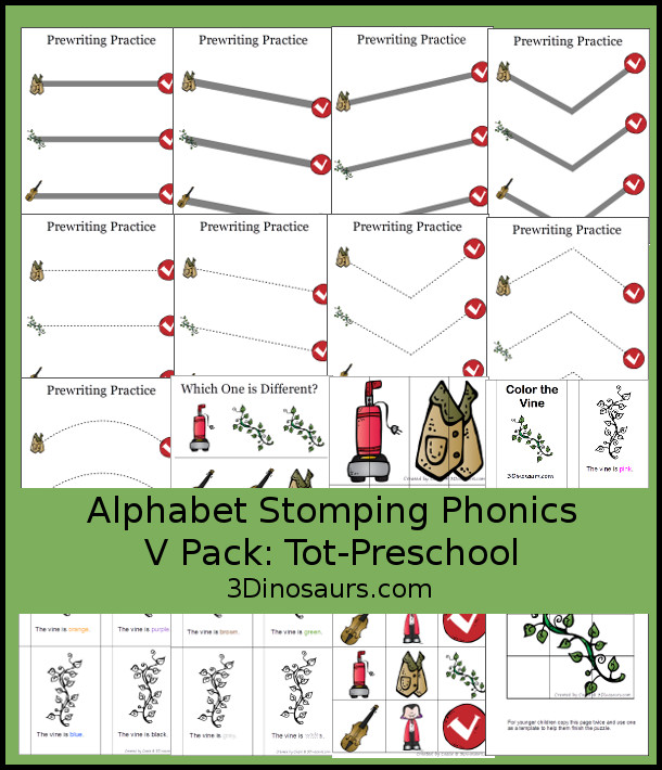 Free Alphabet Stomping Phonics V Tot-Preschool Pack - 20 pages of printables - 3Dinosaurs.com