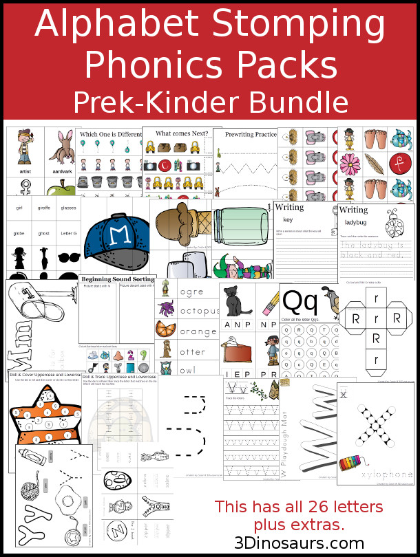 Alphabet Stomping Phonics PreK-Kinder Packs